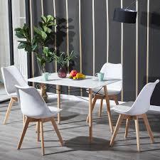 ipotius esstisch mit 4 stühlen weiß esszimmer essgruppe 110x70x73cm für esszimmer essgruppe