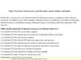 Cover Letter Examples For Human Resources Jobs Coordinator Sample Hr Top 5 Le