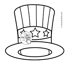 Independence Day Coloring Pages Hat Usa For Kids Free
