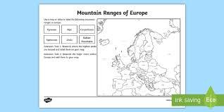 mountain ranges of europe europe mountain ranges worksheet european countries geography