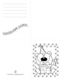 Printable Birthday Cards To Color Add Your Own Personalization Coloring Pages White Background Bear Flowers Hat