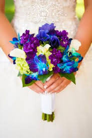 Ooooo Love the vibrant colors purple and blue Bridal Bouquets