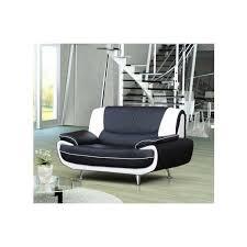 canap simili cuir 2 places canapé 2 places avec têtières relevables en simili cuir noir