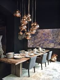 Love The Bold Dark With The Copper Shiny Globes Mixed With The