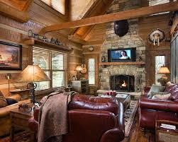 Traditional Living Room Log Cabin Decorating Design in