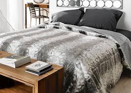 jeté de lit couvre lit fausse fourrure loup grand plaid fausse