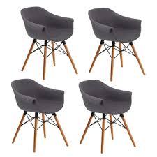 niehoff design stuhl tulip 3882 sitzschale mit webstoff bezug basalt grau gestell aus eiche mit metallstreben schwarz schalenstuhl im 4er set