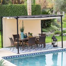 Belham Living Steel Outdoor Pergola Gazebo With Retractable Canopy ... Outdoor Folding Rain Shades For Patio Buy Awning Wind Sensors More For Retractable Shading Delightful Ideas Pergola Shade Roof Roof Awesome Glass The Eureka Durasol Pinnacle Structure Innovative Openings Canopy Or Whats The Difference Motorised Gear Or Pergolas And Awnings Private Residence Northern Skylight Company Home Decor Cozy With Living Diy U