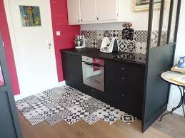cuisine style retro cuisine avant après noir ulta mat crédence carreaux ciment leroy