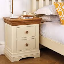 Farmhouse Cream Painted Oak Bedside Table Free Delivery Top