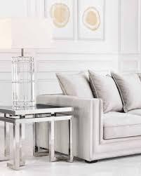 luxuriöser moderner beistelltisch aus chrom und getöntem glas eichholtz