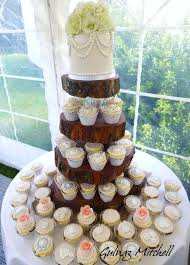 Vintage Rustic Wedding Cake And Cupcake Tower