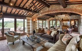 La Veduta Di Vertine Tuscan Farmhouse Living Room