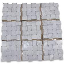 carrara white large basketweave mosaic tile w gray dots polished