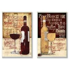 Red And White Wine Typography 2 Piece Graphic Art Plaque Set