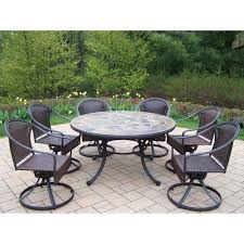Patio Dining Sets Home Depot by Oakland Living Tuscany Stone Art 54 In 7 Piece Patio Wicker