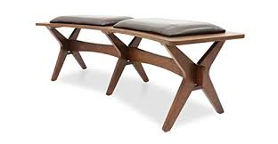 Brown Leather Mid Century Modern Dining Bench