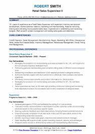 Retail Sales Supervisor II Resume Format