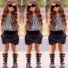 2017 New Summer Wear Girls Casual TOPS Short Clothing Set Suit Clothe Fashion Kids Strips Vest And Black Shorts Outfits Newborn Autumn Clothes