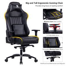 KILLABEE Big And Tall 400lb Memory Foam Gaming Chair Metal Base ... Amazoncom Aingoo Big And Tall Executive Office Chair Vintage Brown Alera Ravino Series Highback Swiveltilt Leather Best Unique Doblepiel Mayline Comfort 6446ag With Pivot Arms Lazboy Elbridge Center Shop For Vanbow Recling High Ofm In Vl685 Ld Products Star Proline Ii Deluxe Back Chairs Bonded Padded Flip Ergonomic Pu Task Titan