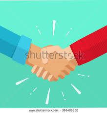 Shaking Hands Business Vector Illustration With Abstract Rays Symbol Of Success Deal Happy Partnership