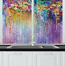 Amazon Prime Kitchen Curtains by Amazon Com Watercolor Flower Kitchen Curtains Home Decor By