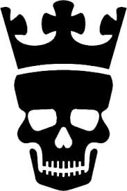 5quot Inches Black Silhouette Of Skull With Crown Design Vinyl Decal Sticker Twin Pack 2