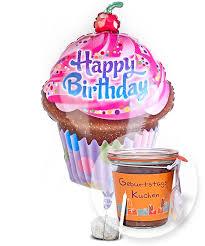 riesenballon happy birthday cupcake und kuchen im glas geburtstag