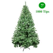 COSTWAY A Green Christmas Tree With Metal Stand Artificial Xmas