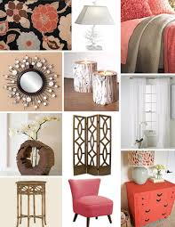 Tan And Coral Bedroom Decor With Wood Accents