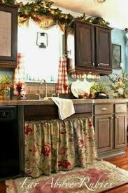 With Floral Sink Skirt Checked Curtains I Love The And Cups Hanging Underneath Cabinets French Country Kitchen