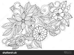 Doodle Floral Pattern In Black And White Page For Coloring Book Pages