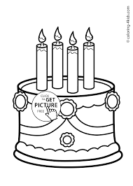 Cake Birthday Party Coloring Pages for 4 years coloring pages for kids