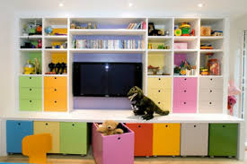 a smaller version of this toy storage and tv area baby boy
