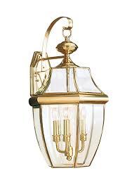 8040 02 three light outdoor wall lantern polished brass