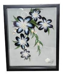 100 Flannel Flower Glass Shadow Box With Shell Art By Meryl Mote Signed