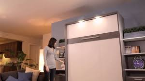 Bestar Wall Beds by Bestar Murphy Bed Cielo Collection Top Panel Lighting Youtube