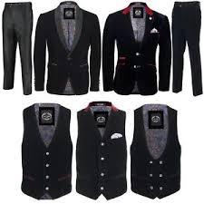 Image Is Loading Mens Black Velvet Vintage 3 Piece Suit Tuxedo