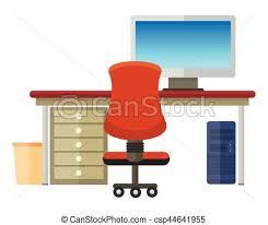 bureau clipart intérieur moderne bureau plat bureau fonctionnant clipart