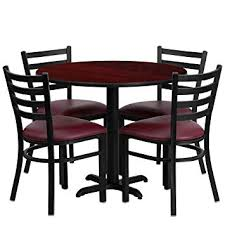 Flash Furniture 36 Round Mahogany Laminate Table Set With 4 Ladder Back Metal Chairs