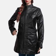 womens serene black leather coat