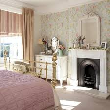 Sweet Floral Wallpaper With Elegant Gold Metal Bed Frame For Vintage Bedroom Decorating Ideas Classic White Fireplace