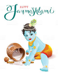 Blue Boy God Broke Pot With Yogurt Royalty Free Happy Krishna
