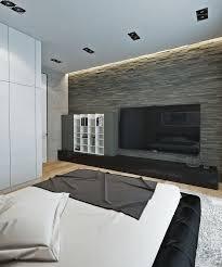 einrichten naturtonen wohnideen schlafzimmer steinwand led