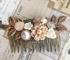 Bridal Hair Comb Wedding Headpiece Floral Adornment Romantic Neutral Theme Tan Slide Statement Decorative
