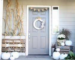 Neutral Fall Porch By Design Dining Diapers Decor White Pumpkins