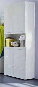 hochschrank hochglanz weiß badezimmer bad schrank 4 türig 80 cm badmöbel amanda ebay