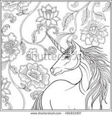 Unicorn In Magical Garden Coloring For Adult And Older Children Outline Drawing Page