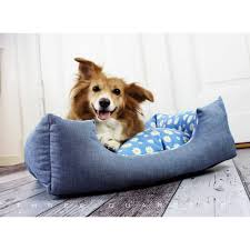 hundebett blau gemütlich margeriten blumen baumwolle katze hund haustier schlafplatz hundekissen kissen weich kuschelig