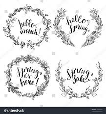 Adult Hand Drawn Spring Wreaths Lettering Stock Vector Flower Wreath Willow Branch Hellowreath Drawing